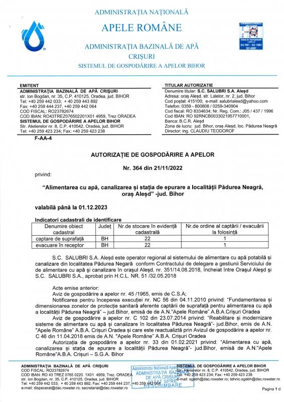 Autorizatie privind alimentarea cu apa, canalizare si statia de epurare - Padurea Neagra